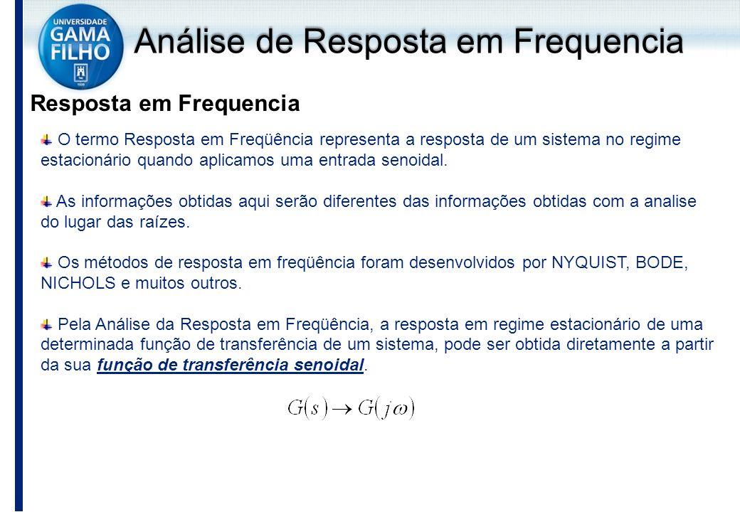 O termo Resposta em Freqüência representa a resposta de um sistema no regime estacionário quando aplicamos uma entrada senoidal. As informações obtida