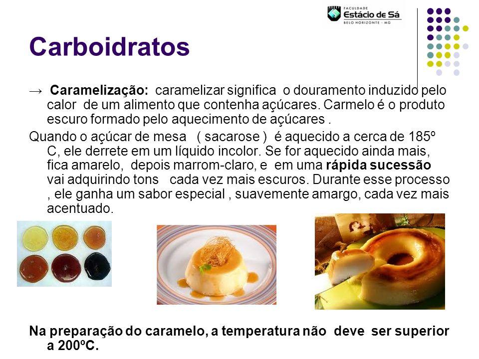 Carboidratos Caramelização: caramelizar significa o douramento induzido pelo calor de um alimento que contenha açúcares. Carmelo é o produto escuro fo