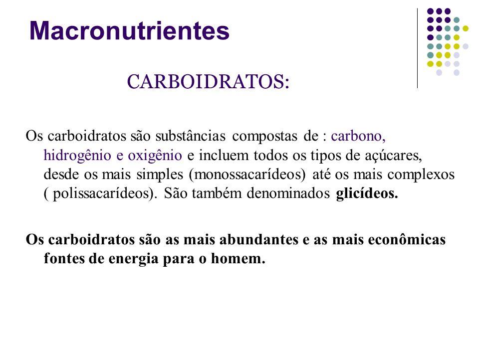 Macronutrientes CARBOIDRATOS: Os carboidratos são substâncias compostas de : carbono, hidrogênio e oxigênio e incluem todos os tipos de açúcares, desd