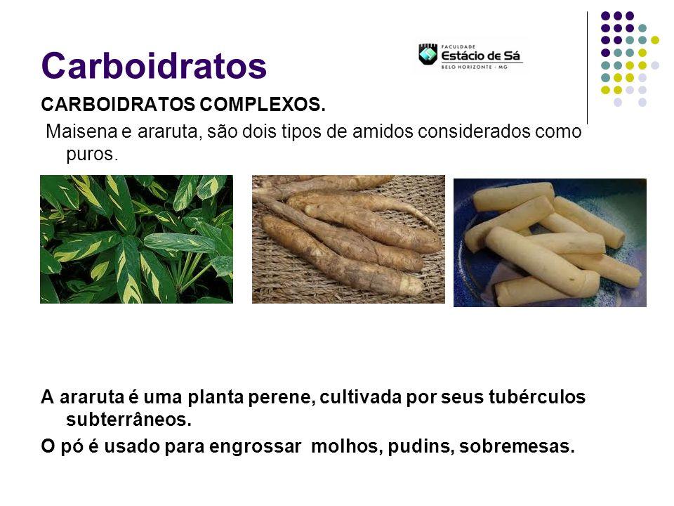 Carboidratos CARBOIDRATOS COMPLEXOS. Maisena e araruta, são dois tipos de amidos considerados como puros. A araruta é uma planta perene, cultivada por