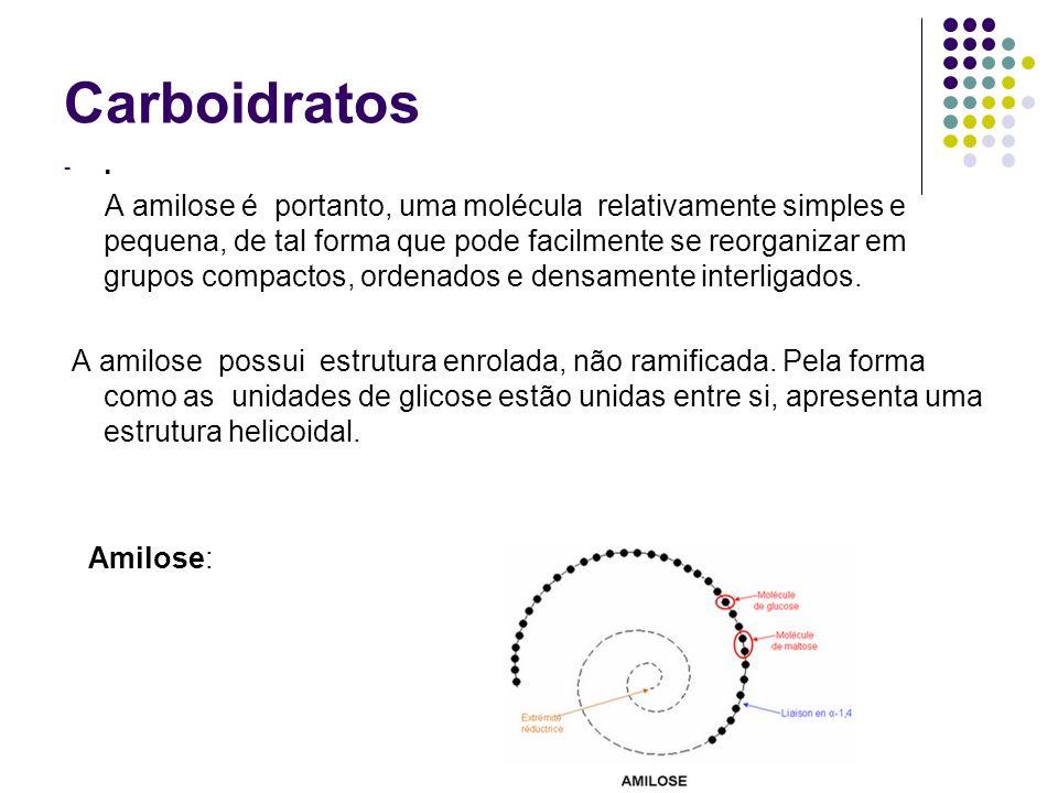 Carboidratos -. A amilose é portanto, uma molécula relativamente simples e pequena, de tal forma que pode facilmente se reorganizar em grupos compacto