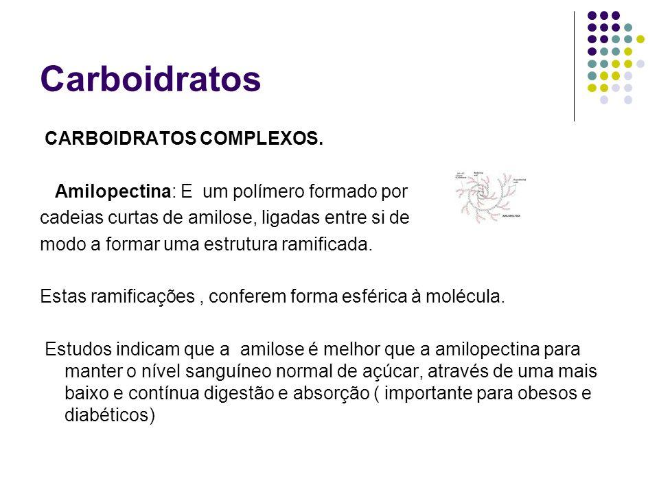 Carboidratos CARBOIDRATOS COMPLEXOS. Amilopectina: E um polímero formado por cadeias curtas de amilose, ligadas entre si de modo a formar uma estrutur