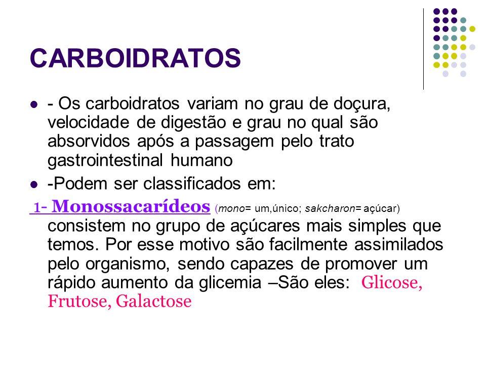 Carboidratos Digestão e absorção dos Carboidratos: Os monossacarídeos resultantes da digestão - glicose, galactose e frutose – atravessam as células da mucosa, e através dos capilares das vilosidades entram na corrente sanguínea e são levados até o fígado.
