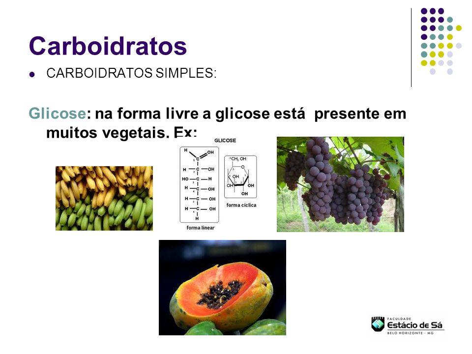Carboidratos CARBOIDRATOS SIMPLES: Glicose: na forma combinada encontra-se na sacarose, na lactose, na maltose
