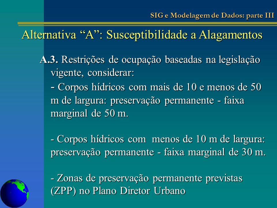 A.3. Restrições de ocupação baseadas na legislação vigente, considerar: - Corpos hídricos com mais de 10 e menos de 50 m de largura: preservação perma