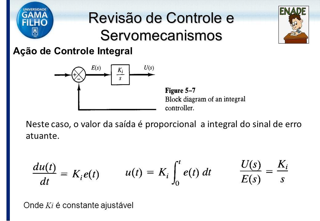Neste caso, o valor da saída é proporcional a integral do sinal de erro atuante. Ação de Controle Integral Onde Ki é constante ajustável Revisão de Co