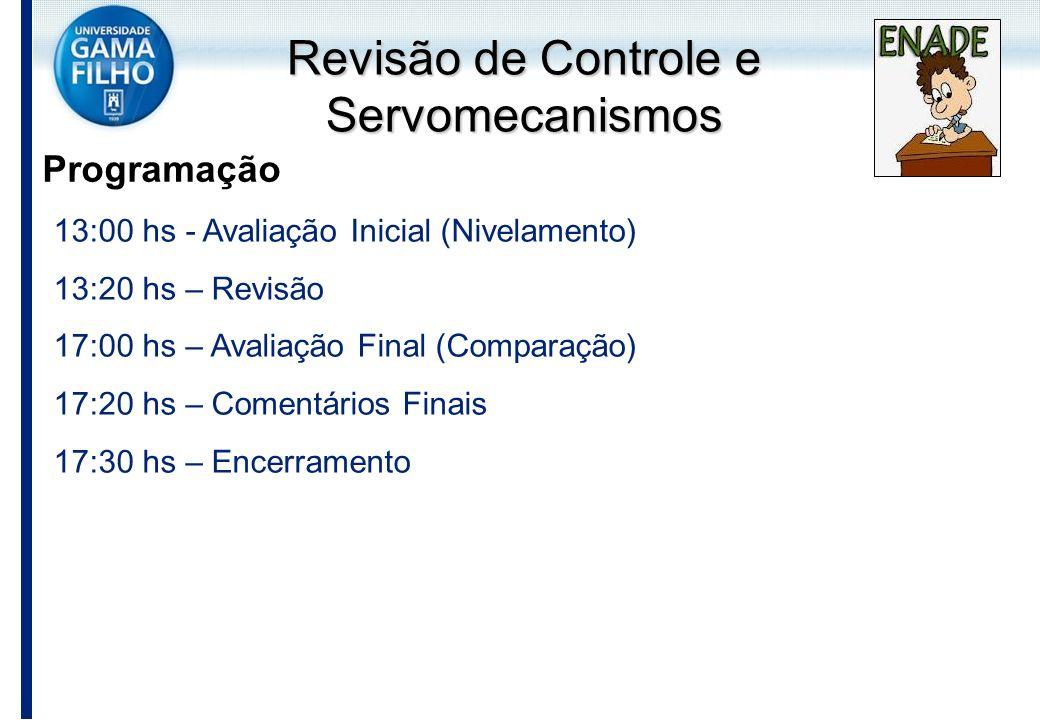 Revisão de Controle e Servomecanismos Programação 13:00 hs - Avaliação Inicial (Nivelamento) 13:20 hs – Revisão 17:00 hs – Avaliação Final (Comparação