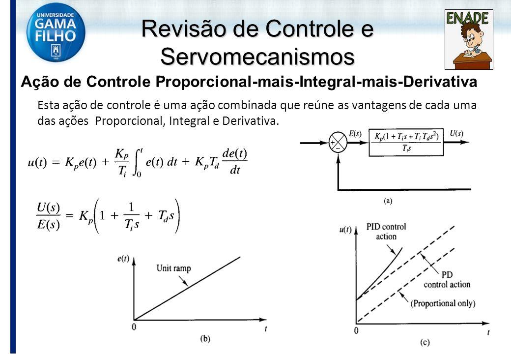 Ação de Controle Proporcional-mais-Integral-mais-Derivativa Esta ação de controle é uma ação combinada que reúne as vantagens de cada uma das ações Pr