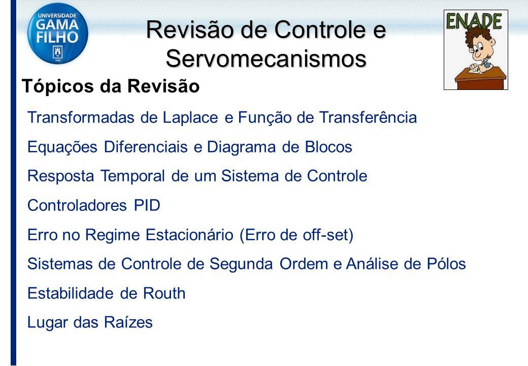 Revisão de Controle e Servomecanismos Tópicos da Revisão Transformadas de Laplace e Função de Transferência Equações Diferenciais e Diagrama de Blocos