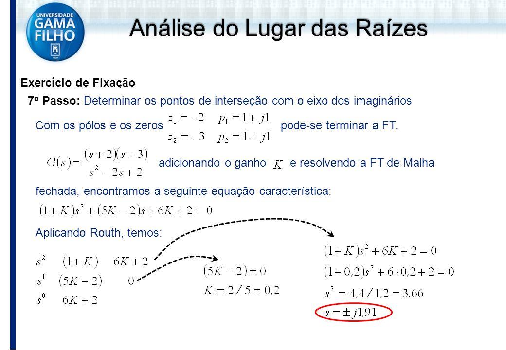 Exercício de Fixação 7 o Passo: Determinar os pontos de interseção com o eixo dos imaginários Com os pólos e os zeros pode-se terminar a FT. adicionan