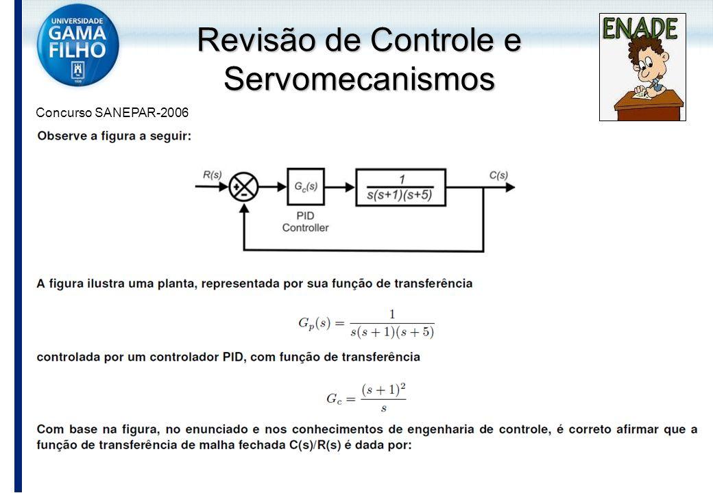 Revisão de Controle e Servomecanismos Concurso SANEPAR-2006