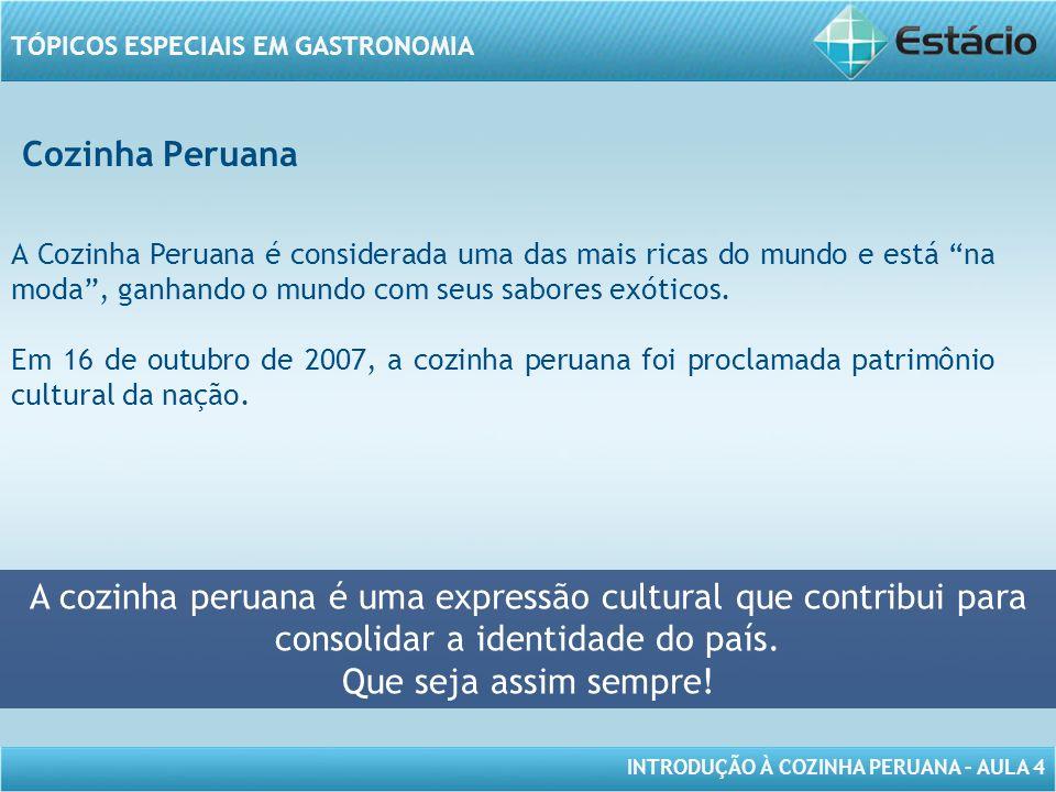 INTRODUÇÃO À COZINHA PERUANA – AULA 4 TÓPICOS ESPECIAIS EM GASTRONOMIA Cozinha Peruana A cozinha peruana é uma expressão cultural que contribui para consolidar a identidade do país.