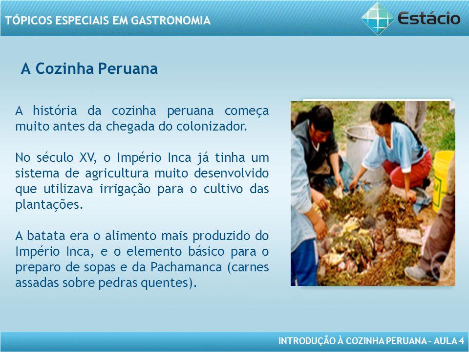INTRODUÇÃO À COZINHA PERUANA – AULA 4 TÓPICOS ESPECIAIS EM GASTRONOMIA A Cozinha Peruana MODELO DE MOLDURA PARA IMAGEM COM ORIENTAÇÃO VERTICAL A história da cozinha peruana começa muito antes da chegada do colonizador.