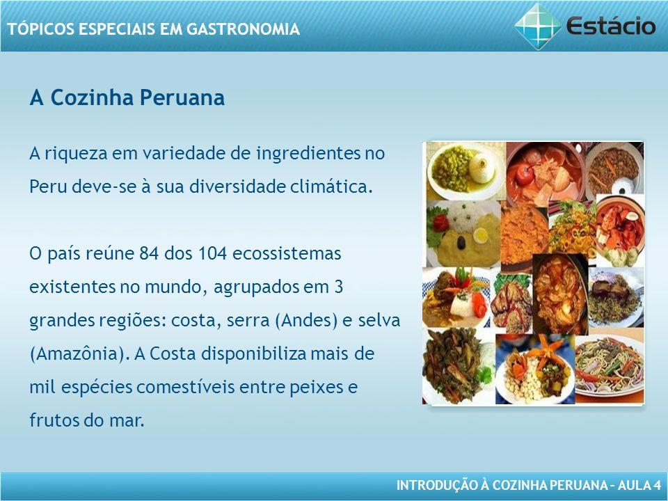INTRODUÇÃO À COZINHA PERUANA – AULA 4 TÓPICOS ESPECIAIS EM GASTRONOMIA A Cozinha Peruana MODELO DE MOLDURA PARA IMAGEM COM ORIENTAÇÃO VERTICAL A riqueza em variedade de ingredientes no Peru deve-se à sua diversidade climática.
