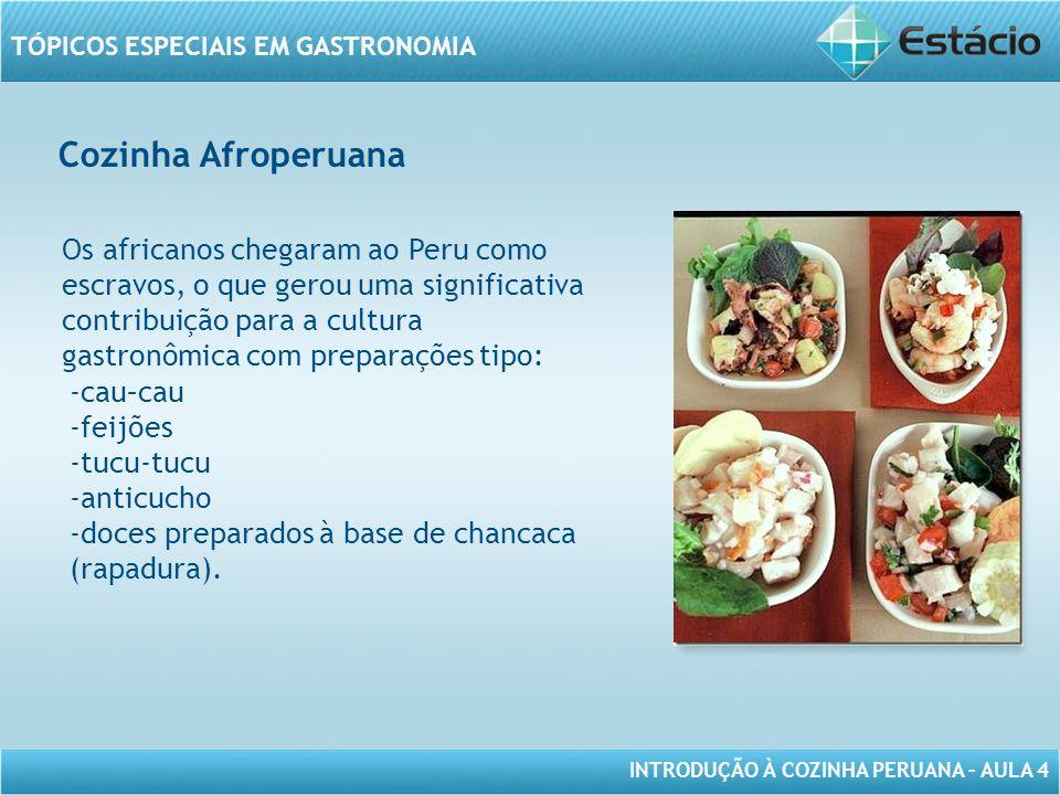 INTRODUÇÃO À COZINHA PERUANA – AULA 4 TÓPICOS ESPECIAIS EM GASTRONOMIA Cozinha Afroperuana MODELO DE MOLDURA PARA IMAGEM COM ORIENTAÇÃO VERTICAL Os africanos chegaram ao Peru como escravos, o que gerou uma significativa contribuição para a cultura gastronômica com preparações tipo: -cau–cau -feijões -tucu-tucu -anticucho -doces preparados à base de chancaca (rapadura).