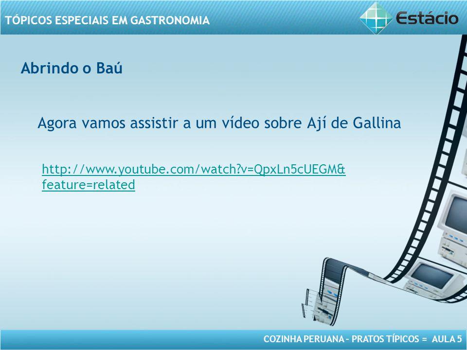 COZINHA PERUANA – PRATOS TÍPICOS = AULA 5 TÓPICOS ESPECIAIS EM GASTRONOMIA Abrindo o Baú Agora vamos assistir a um vídeo sobre Ají de Gallina http://w