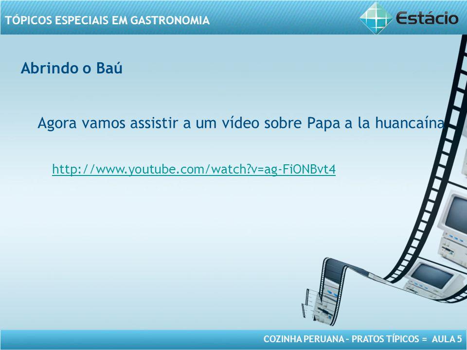 COZINHA PERUANA – PRATOS TÍPICOS = AULA 5 TÓPICOS ESPECIAIS EM GASTRONOMIA Abrindo o Baú Agora vamos assistir a um vídeo sobre Papa a la huancaína http://www.youtube.com/watch?v=ag-FiONBvt4