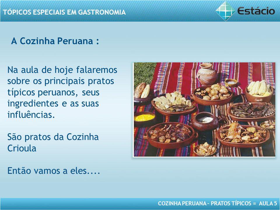 COZINHA PERUANA – PRATOS TÍPICOS = AULA 5 TÓPICOS ESPECIAIS EM GASTRONOMIA MODELO DE MOLDURA PARA IMAGEM COM ORIENTAÇÃO HORIZONTAL Na aula de hoje falaremos sobre os principais pratos típicos peruanos, seus ingredientes e as suas influências.