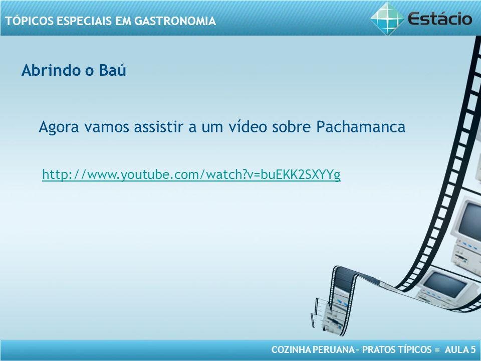 COZINHA PERUANA – PRATOS TÍPICOS = AULA 5 TÓPICOS ESPECIAIS EM GASTRONOMIA Abrindo o Baú Agora vamos assistir a um vídeo sobre Pachamanca http://www.youtube.com/watch?v=buEKK2SXYYg