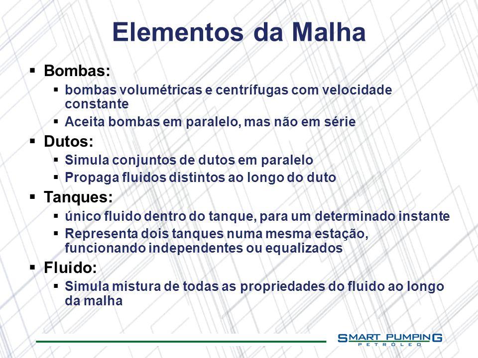 Elementos da Malha Bombas: bombas volumétricas e centrífugas com velocidade constante Aceita bombas em paralelo, mas não em série Dutos: Simula conjun