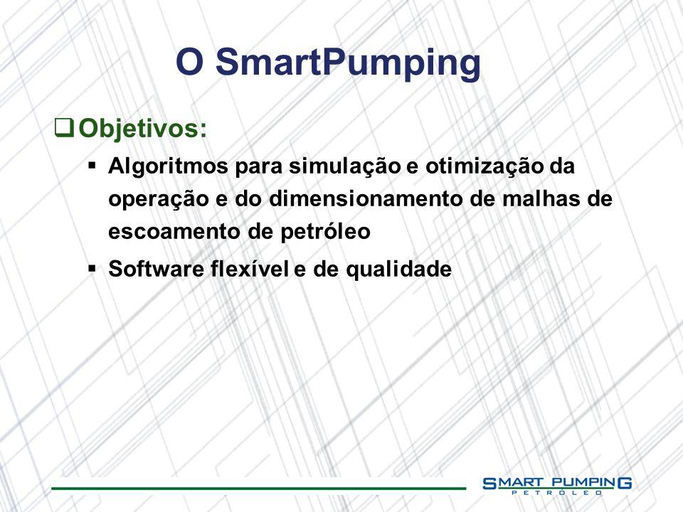 O SmartPumping Objetivos: Algoritmos para simulação e otimização da operação e do dimensionamento de malhas de escoamento de petróleo Software flexíve
