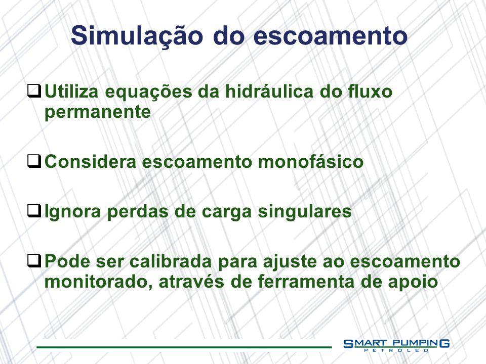 Simulação do escoamento Utiliza equações da hidráulica do fluxo permanente Considera escoamento monofásico Ignora perdas de carga singulares Pode ser