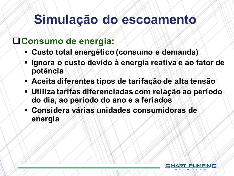 Consumo de energia: Custo total energético (consumo e demanda) Ignora o custo devido à energia reativa e ao fator de potência Aceita diferentes tipos