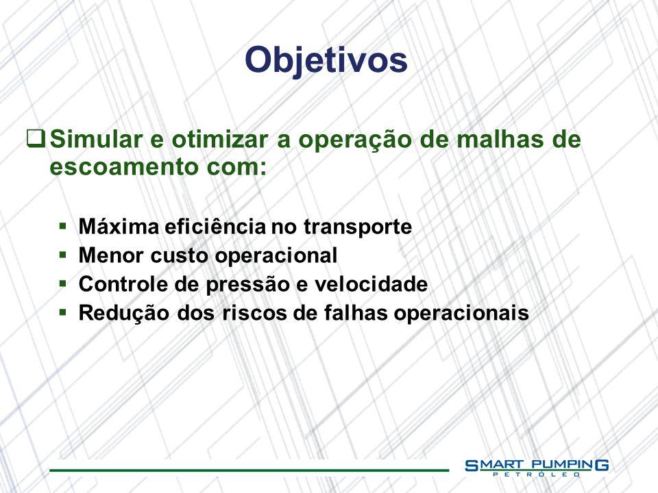 Objetivos Simular e otimizar a operação de malhas de escoamento com: Máxima eficiência no transporte Menor custo operacional Controle de pressão e vel