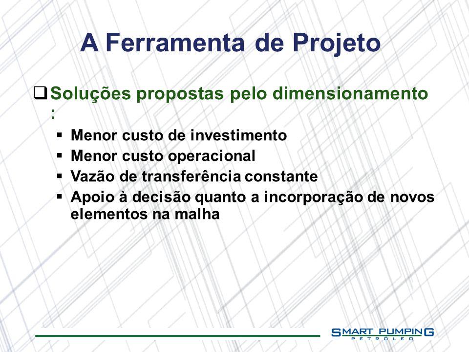 A Ferramenta de Projeto Soluções propostas pelo dimensionamento : Menor custo de investimento Menor custo operacional Vazão de transferência constante