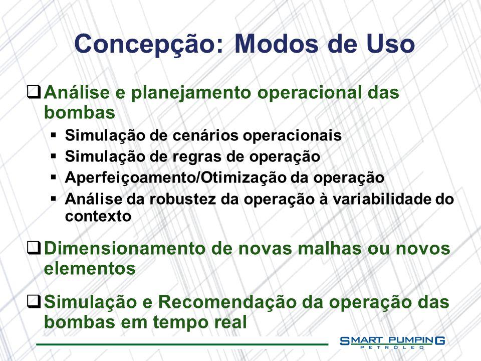 Análise e planejamento operacional das bombas Simulação de cenários operacionais Simulação de regras de operação Aperfeiçoamento/Otimização da operaçã