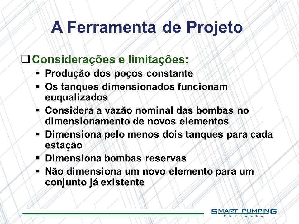 A Ferramenta de Projeto Considerações e limitações: Produção dos poços constante Os tanques dimensionados funcionam euqualizados Considera a vazão nom