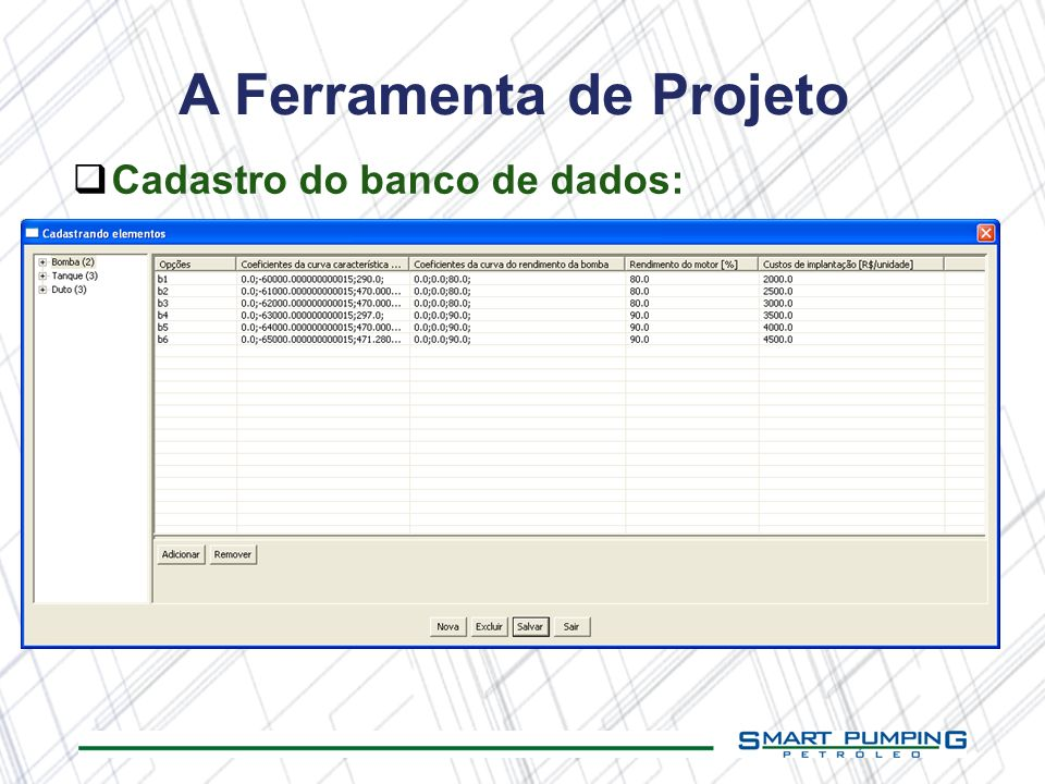A Ferramenta de Projeto Cadastro do banco de dados: