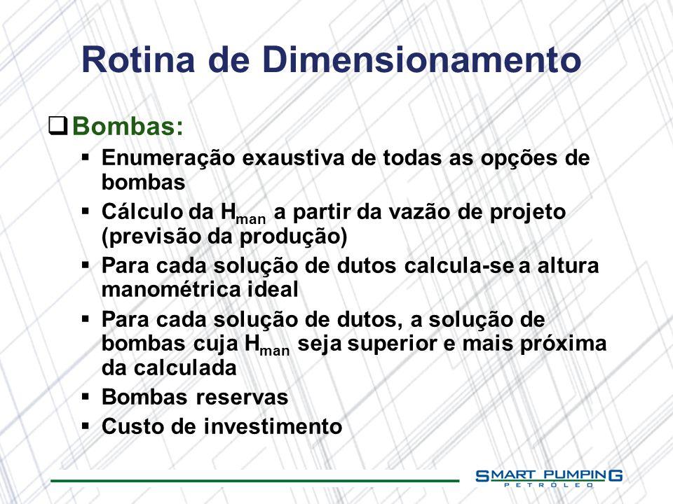 Rotina de Dimensionamento Bombas: Enumeração exaustiva de todas as opções de bombas Cálculo da H man a partir da vazão de projeto (previsão da produçã