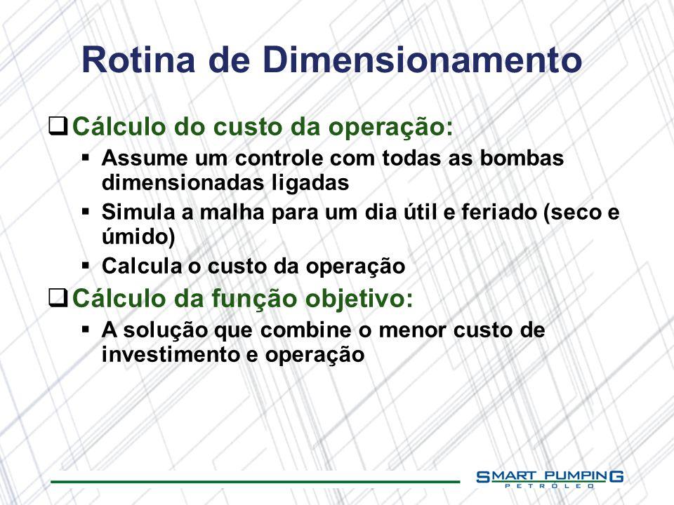 Rotina de Dimensionamento Cálculo do custo da operação: Assume um controle com todas as bombas dimensionadas ligadas Simula a malha para um dia útil e