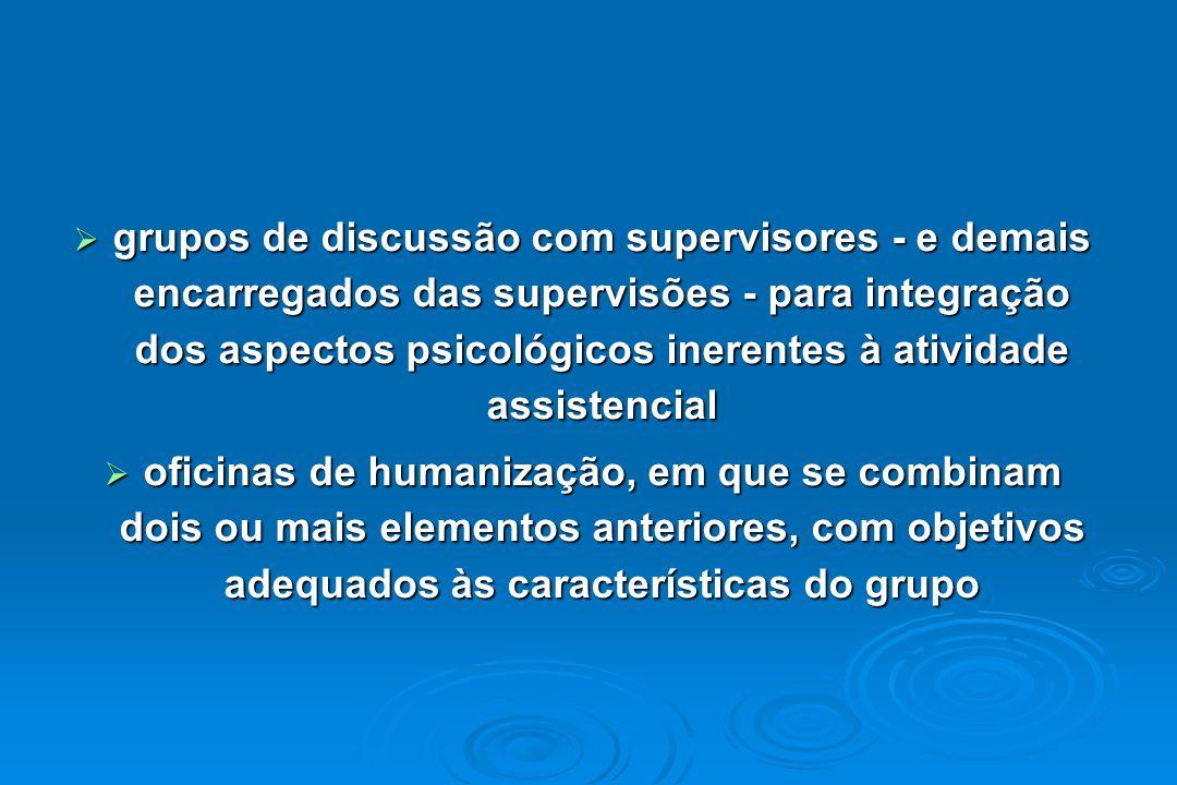 grupos de discussão com supervisores - e demais encarregados das supervisões - para integração dos aspectos psicológicos inerentes à atividade assiste