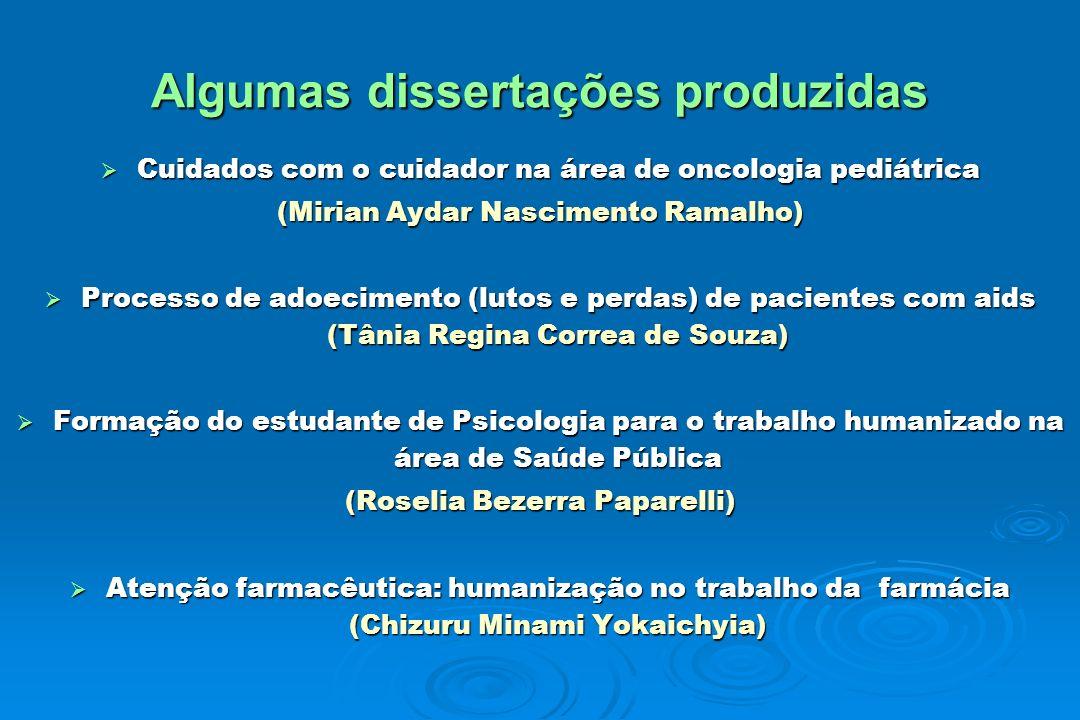 Algumas dissertações produzidas Cuidados com o cuidador na área de oncologia pediátrica Cuidados com o cuidador na área de oncologia pediátrica (Miria