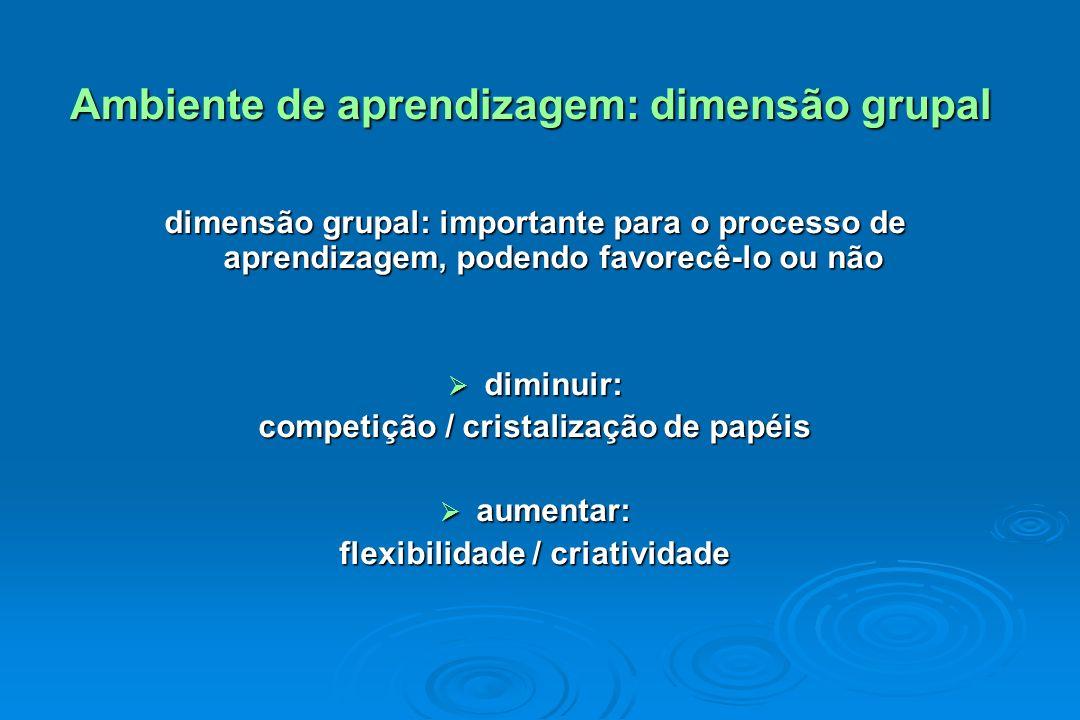 Ambiente de aprendizagem: dimensão grupal Ambiente de aprendizagem: dimensão grupal dimensão grupal: importante para o processo de aprendizagem, poden