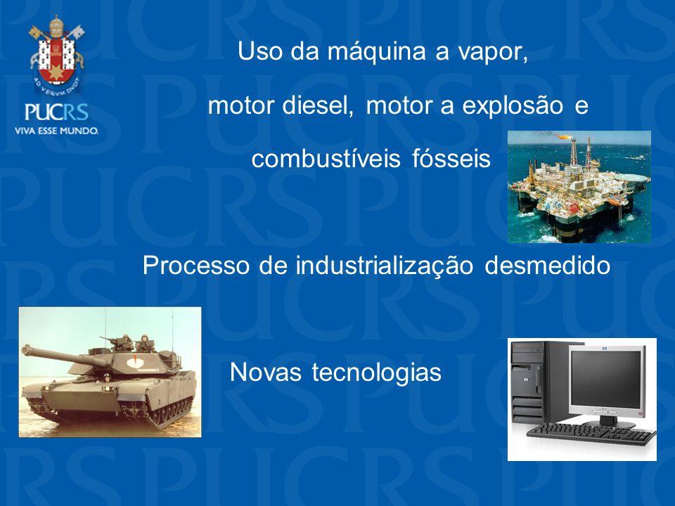 Uso da máquina a vapor, motor diesel, motor a explosão e combustíveis fósseis Processo de industrialização desmedido Novas tecnologias