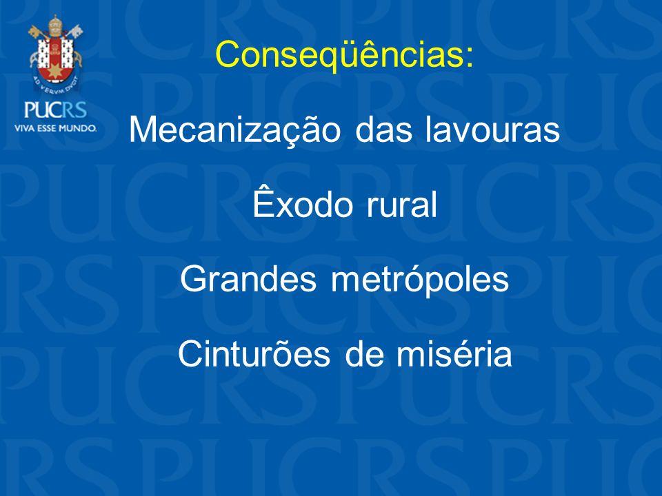 Conseqüências: Mecanização das lavouras Êxodo rural Grandes metrópoles Cinturões de miséria