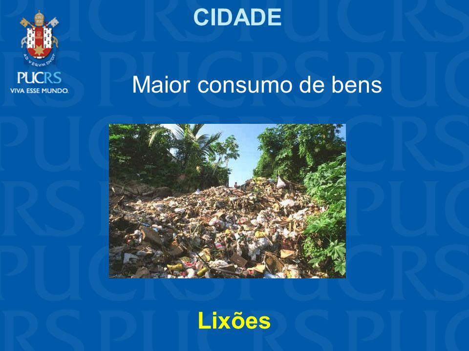 CIDADE Maior consumo de bens Lixões