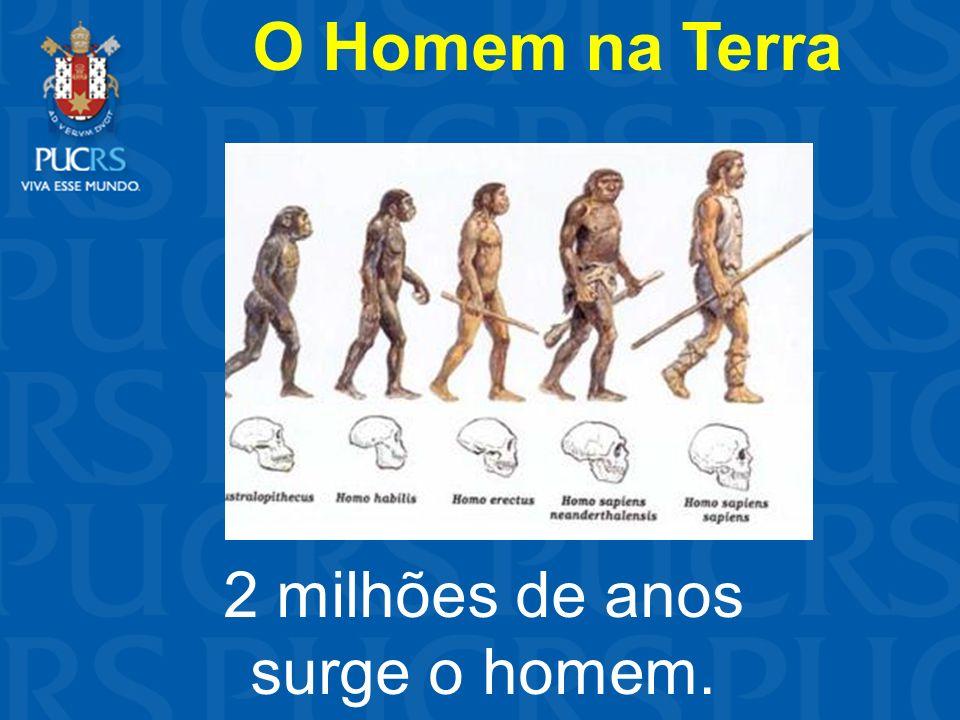 2 milhões de anos surge o homem. O Homem na Terra
