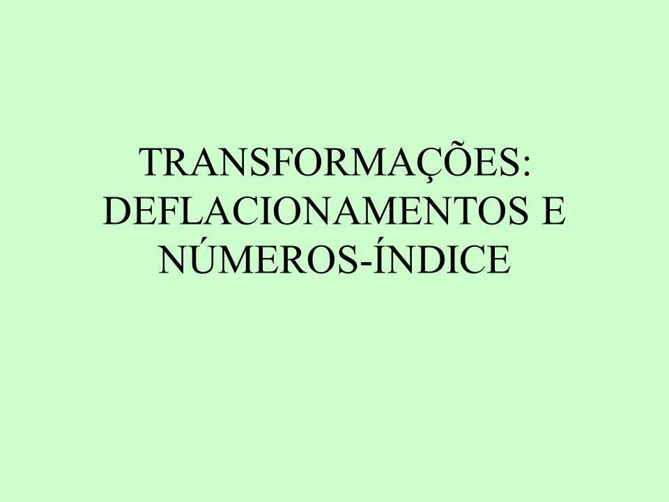 TRANSFORMAÇÕES: DEFLACIONAMENTOS E NÚMEROS-ÍNDICE