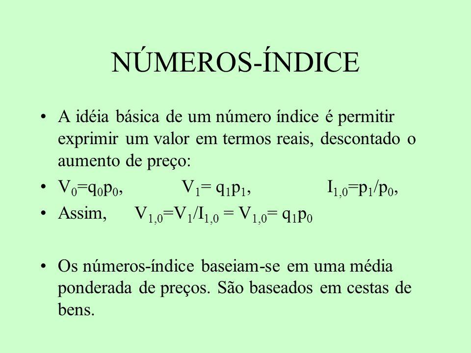 NÚMEROS-ÍNDICE A idéia básica de um número índice é permitir exprimir um valor em termos reais, descontado o aumento de preço: V 0 =q 0 p 0, V 1 = q 1