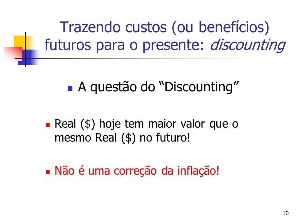 10 Trazendo custos (ou benefícios) futuros para o presente: discounting A questão do Discounting Real ($) hoje tem maior valor que o mesmo Real ($) no futuro.
