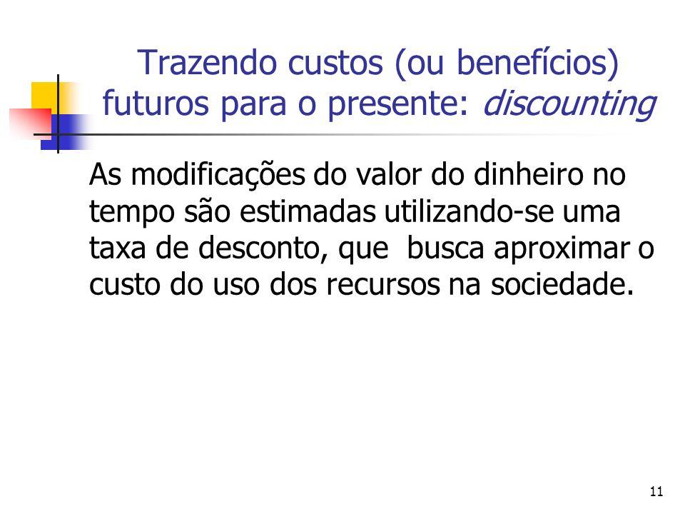 11 Trazendo custos (ou benefícios) futuros para o presente: discounting As modificações do valor do dinheiro no tempo são estimadas utilizando-se uma taxa de desconto, que busca aproximar o custo do uso dos recursos na sociedade.