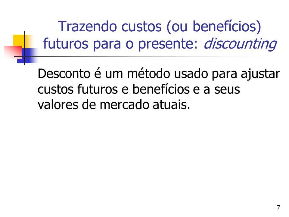 7 Trazendo custos (ou benefícios) futuros para o presente: discounting Desconto é um método usado para ajustar custos futuros e benefícios e a seus valores de mercado atuais.