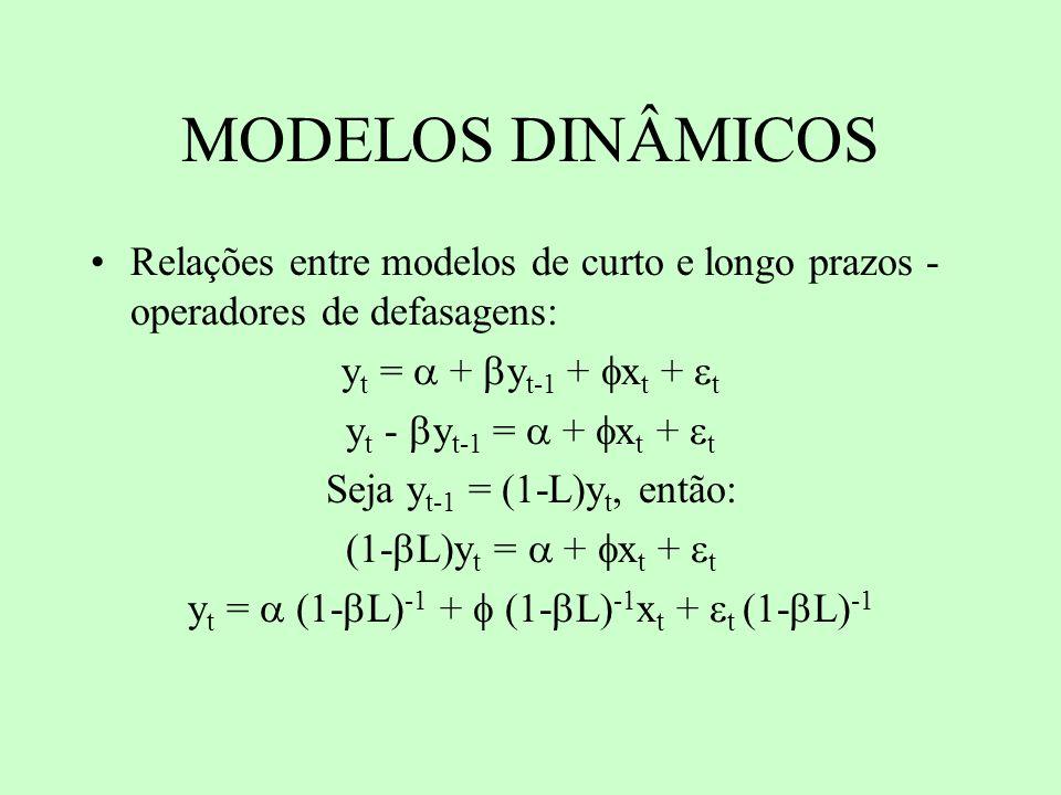 MODELOS DINÂMICOS Relações entre modelos de curto e longo prazos - operadores de defasagens: y t = + y t-1 + x t + t y t - y t-1 = + x t + t Seja y t-