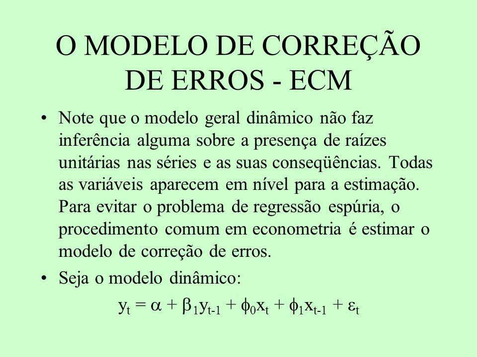 O MODELO DE CORREÇÃO DE ERROS - ECM Note que o modelo geral dinâmico não faz inferência alguma sobre a presença de raízes unitárias nas séries e as su
