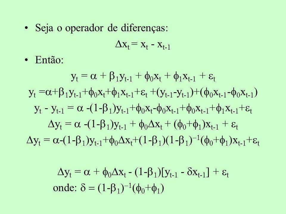 y t = + x t - (1- )[y t-1 - x t-1 ] + t Note que o MCE possui termos de longo e de curto prazos, uma vez que o termo entre colchetes não é diferente do resíduo de uma regressão que testa cointegração (relação de longo prazo).
