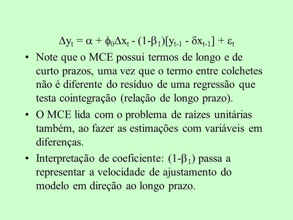 y t = + x t - (1- )[y t-1 - x t-1 ] + t Note que o MCE possui termos de longo e de curto prazos, uma vez que o termo entre colchetes não é diferente d